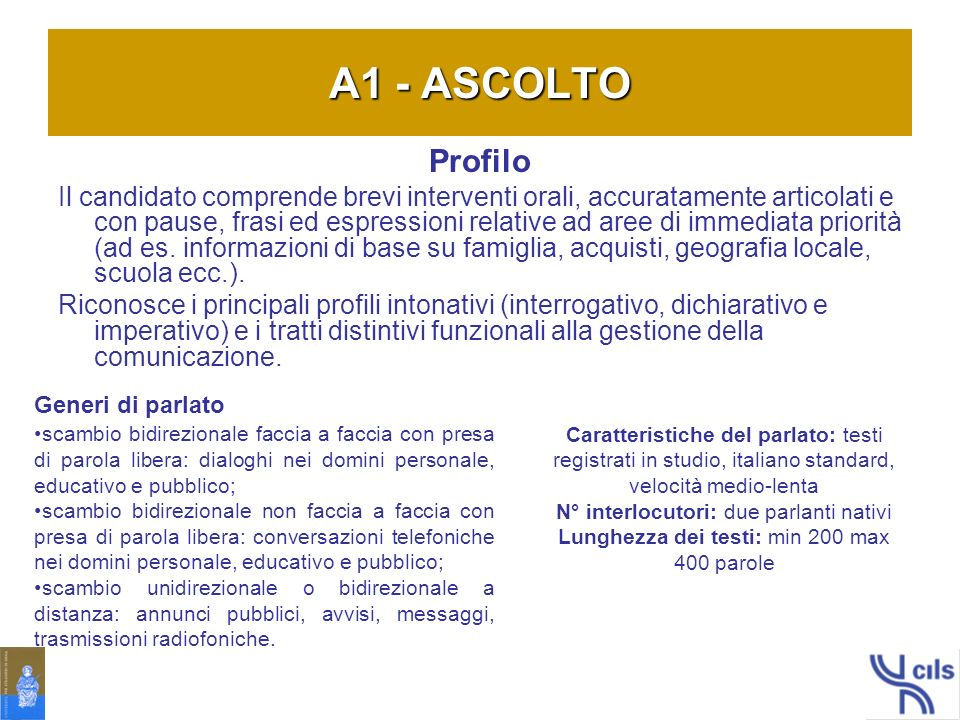 A1 - ASCOLTO Profilo.