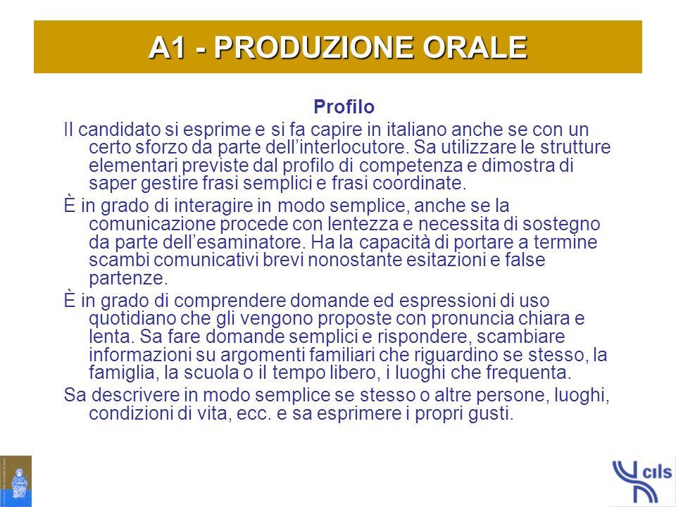 A1 - PRODUZIONE ORALE Profilo