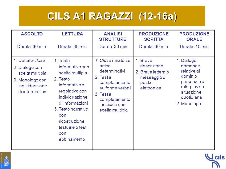 CILS A1 RAGAZZI (12-16a) ASCOLTO LETTURA ANALISI STRUTTURE