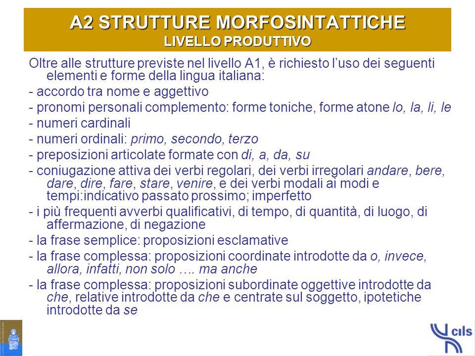 A2 STRUTTURE MORFOSINTATTICHE LIVELLO PRODUTTIVO