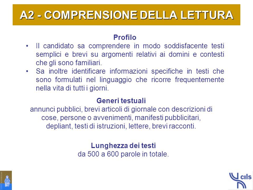 A2 - COMPRENSIONE DELLA LETTURA