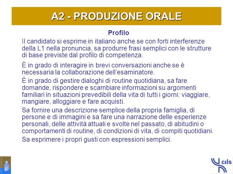 A2 - PRODUZIONE ORALE Profilo