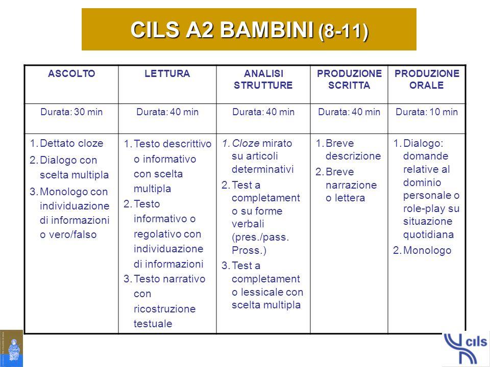 CILS A2 BAMBINI (8-11) Dettato cloze Dialogo con scelta multipla