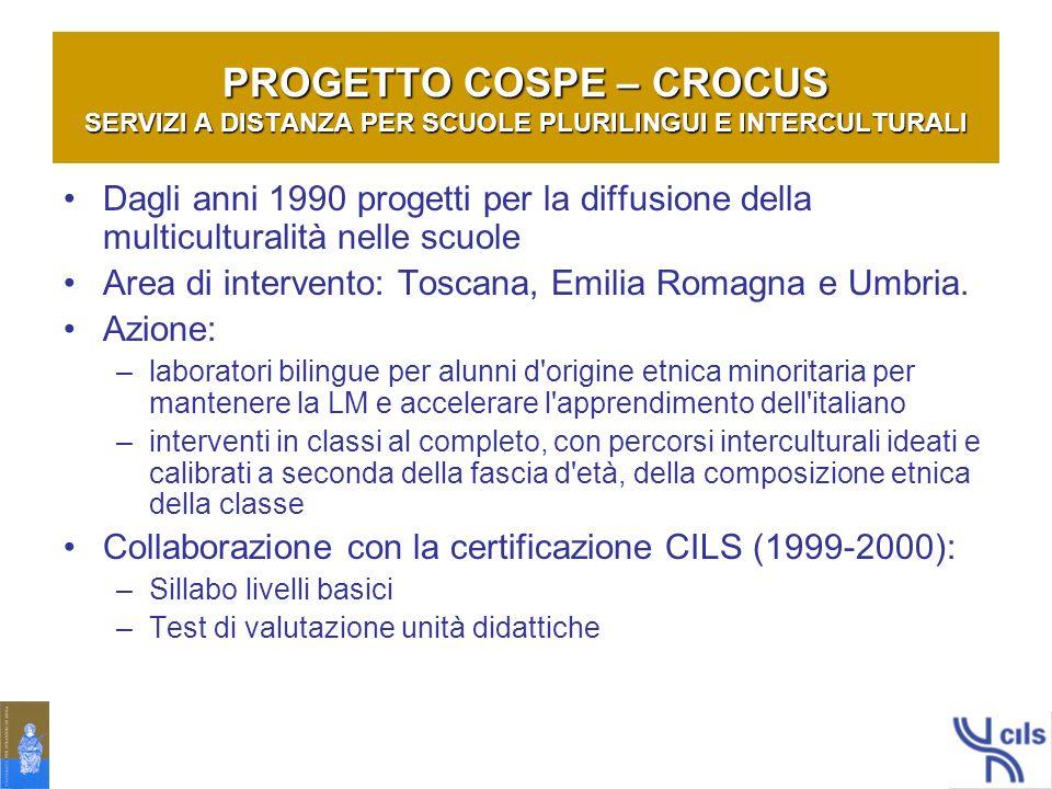 PROGETTO COSPE – CROCUS SERVIZI A DISTANZA PER SCUOLE PLURILINGUI E INTERCULTURALI