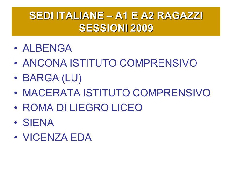 SEDI ITALIANE – A1 E A2 RAGAZZI SESSIONI 2009