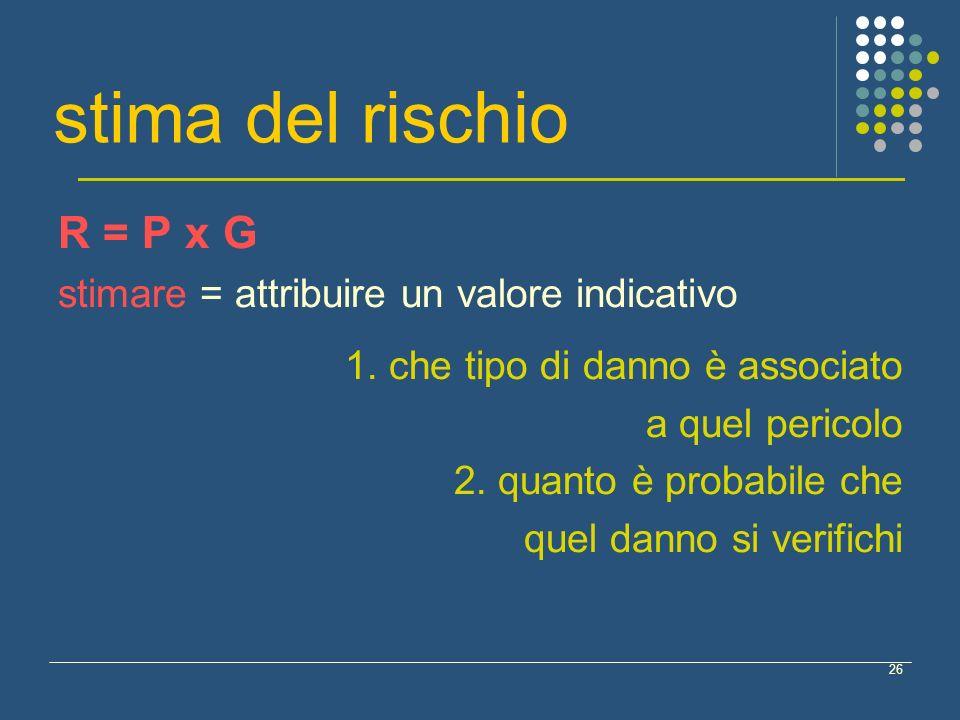 stima del rischio R = P x G stimare = attribuire un valore indicativo