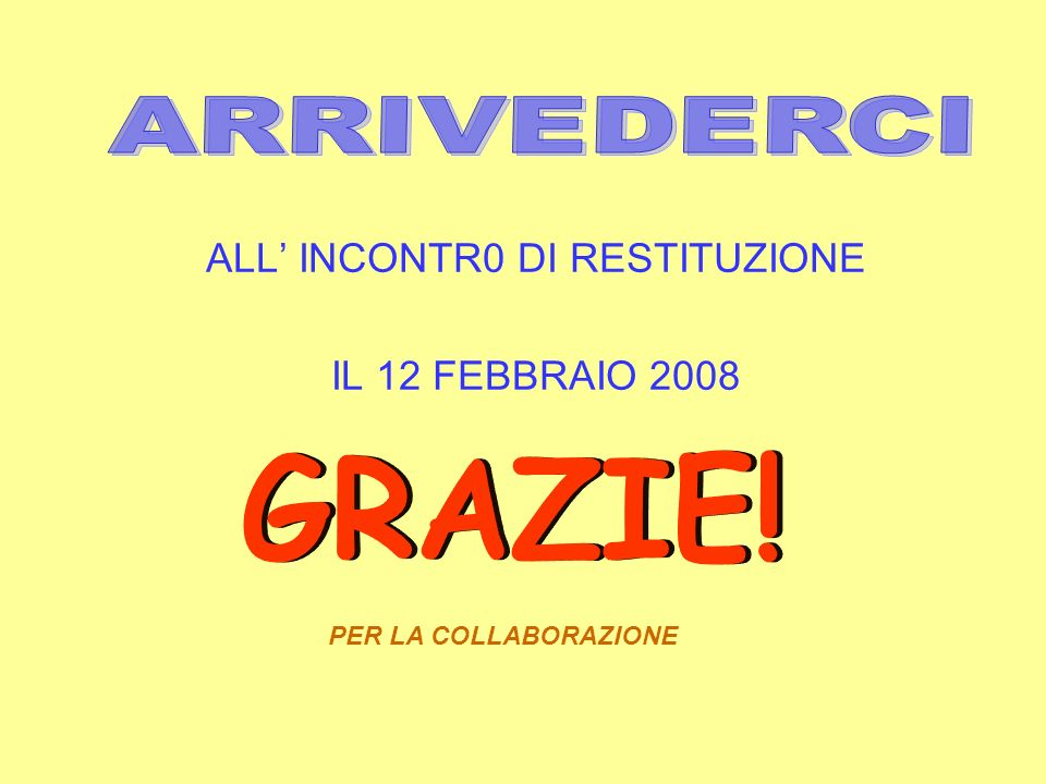 ALL' INCONTR0 DI RESTITUZIONE