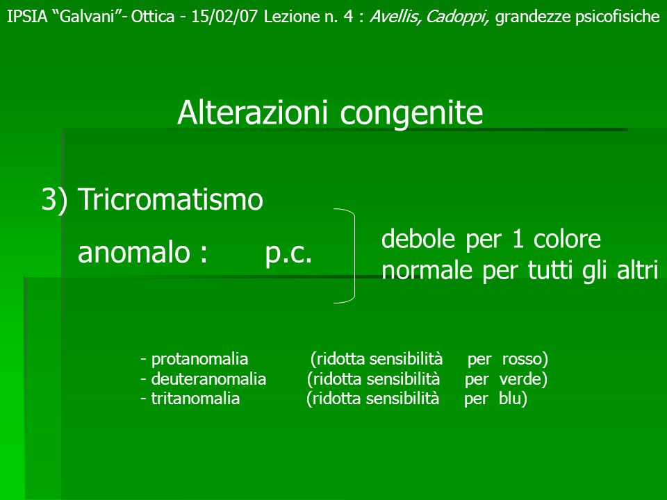Alterazioni congenite