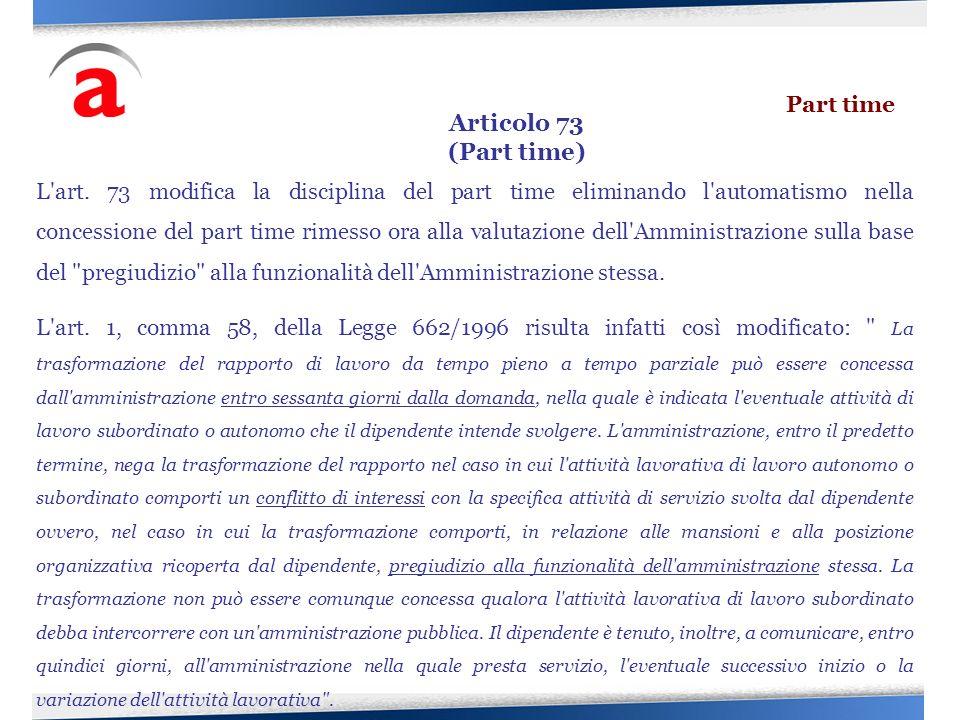 Articolo 73 (Part time) Part time