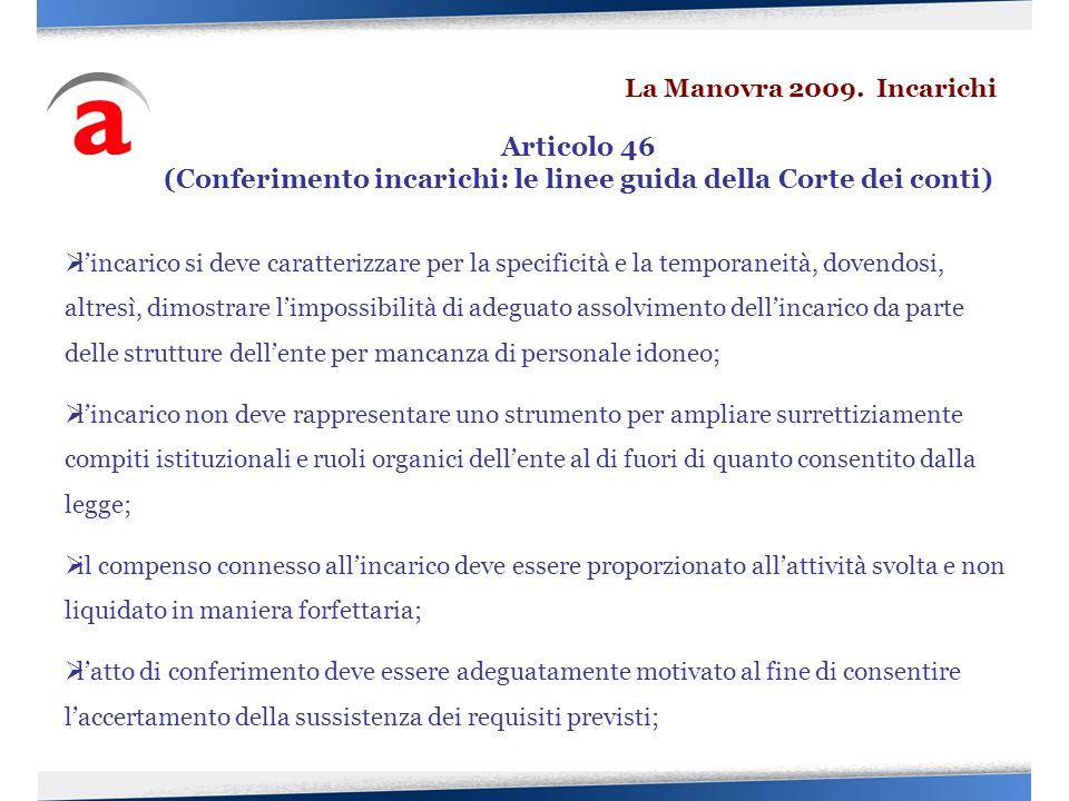 (Conferimento incarichi: le linee guida della Corte dei conti)