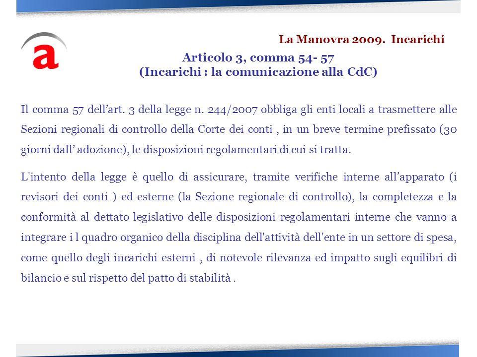(Incarichi : la comunicazione alla CdC)