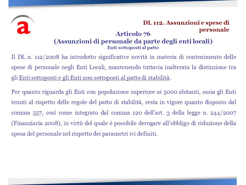 Articolo 76 (Assunzioni di personale da parte degli enti locali)
