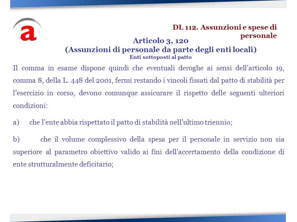 Articolo 3, 120 (Assunzioni di personale da parte degli enti locali)