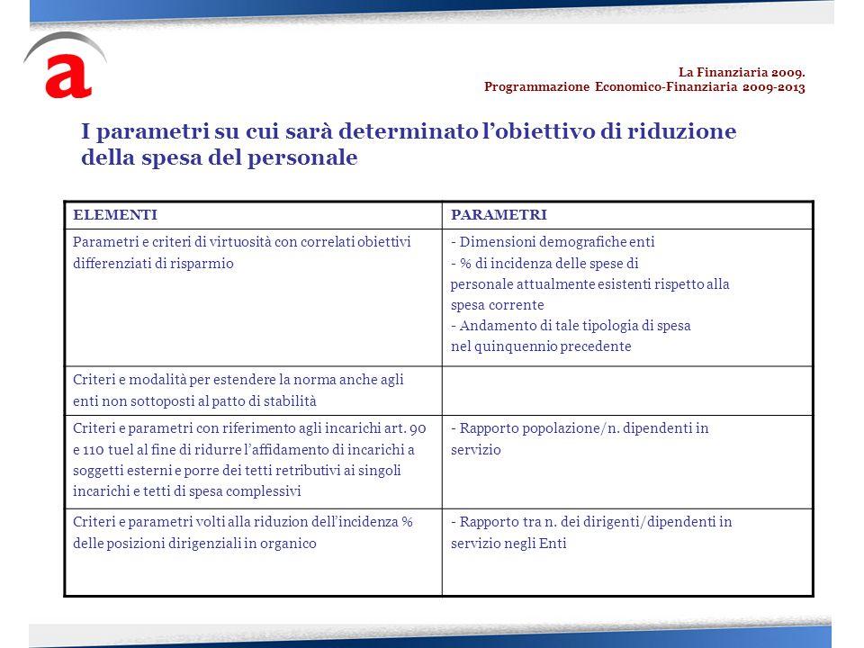 La Finanziaria 2009. Programmazione Economico-Finanziaria 2009-2013