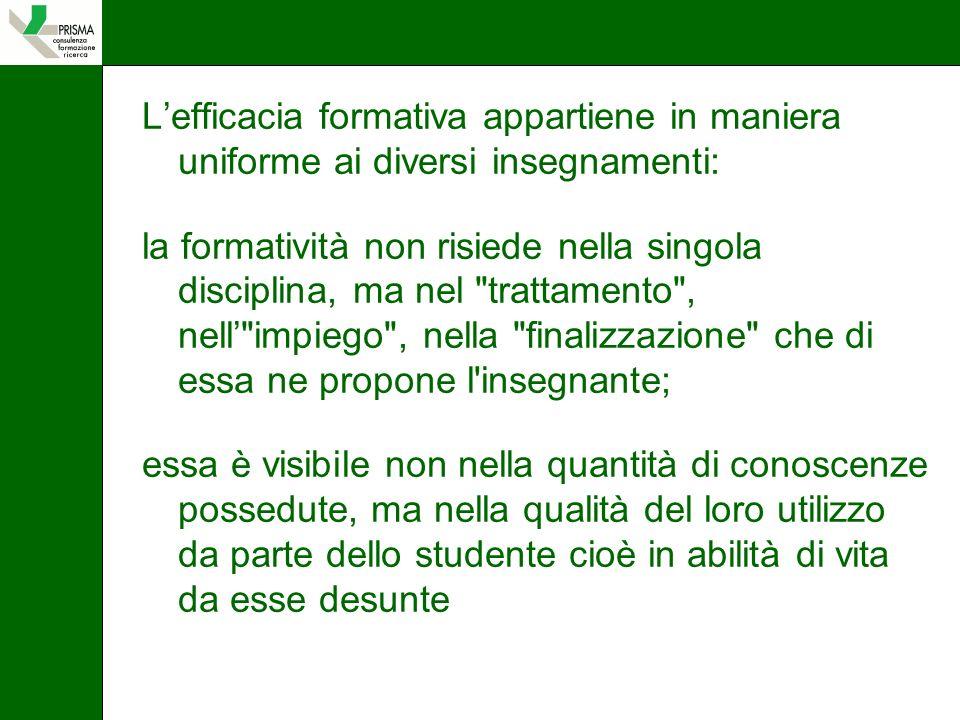 L'efficacia formativa appartiene in maniera uniforme ai diversi insegnamenti: