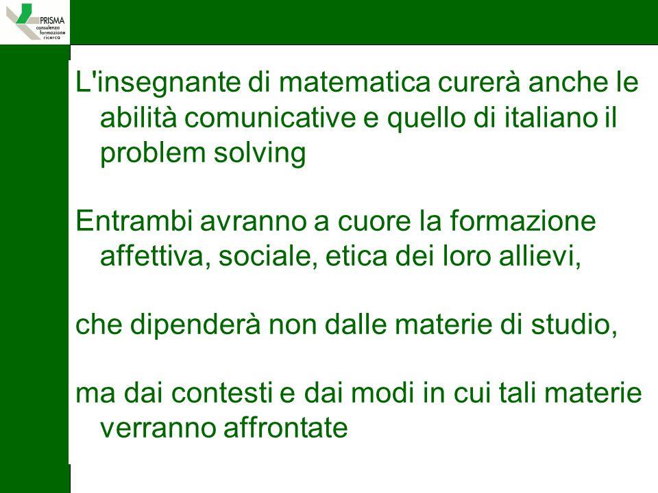 L insegnante di matematica curerà anche le abilità comunicative e quello di italiano il problem solving