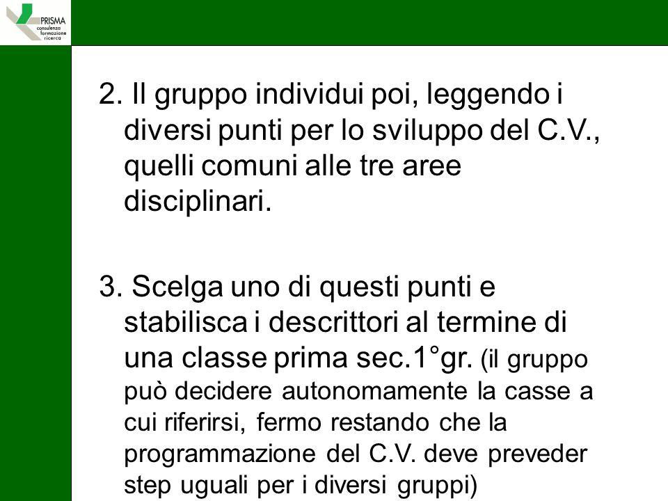 2. Il gruppo individui poi, leggendo i diversi punti per lo sviluppo del C.V., quelli comuni alle tre aree disciplinari.