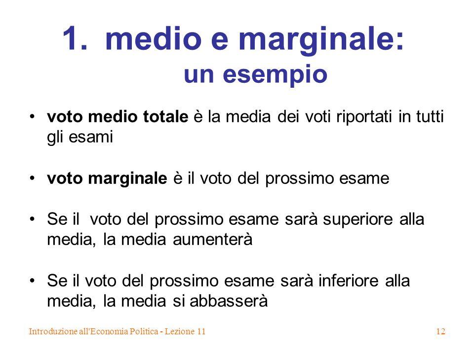 medio e marginale: un esempio