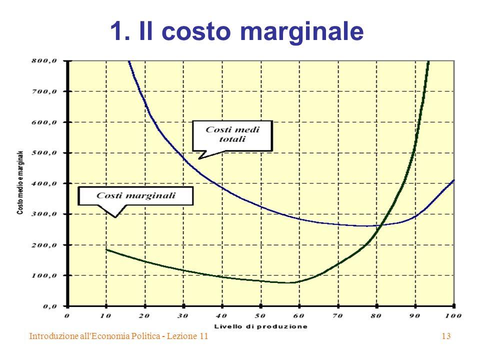 1. Il costo marginale Introduzione all Economia Politica - Lezione 11