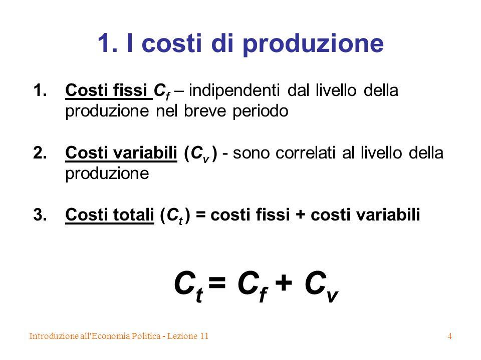 Ct = Cf + Cv 1. I costi di produzione
