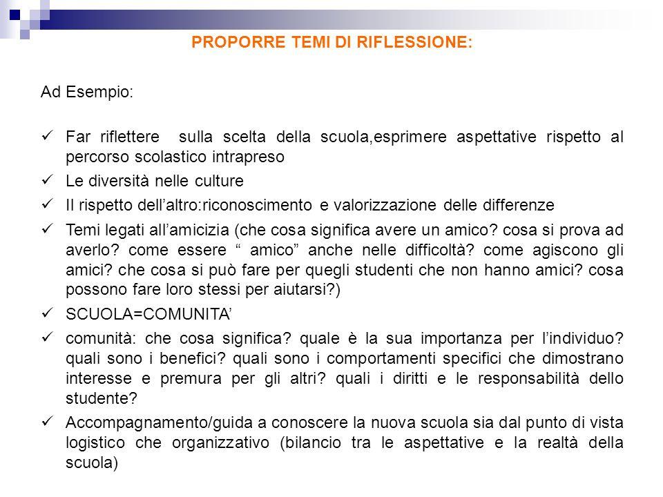 PROPORRE TEMI DI RIFLESSIONE: