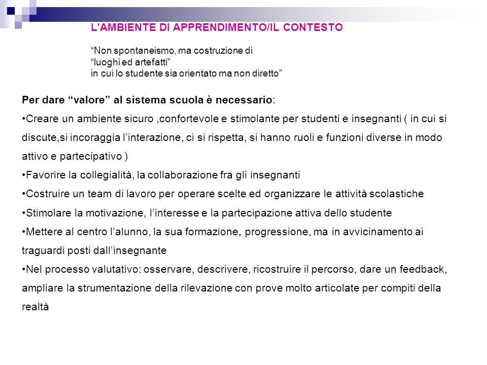 L'AMBIENTE DI APPRENDIMENTO/IL CONTESTO