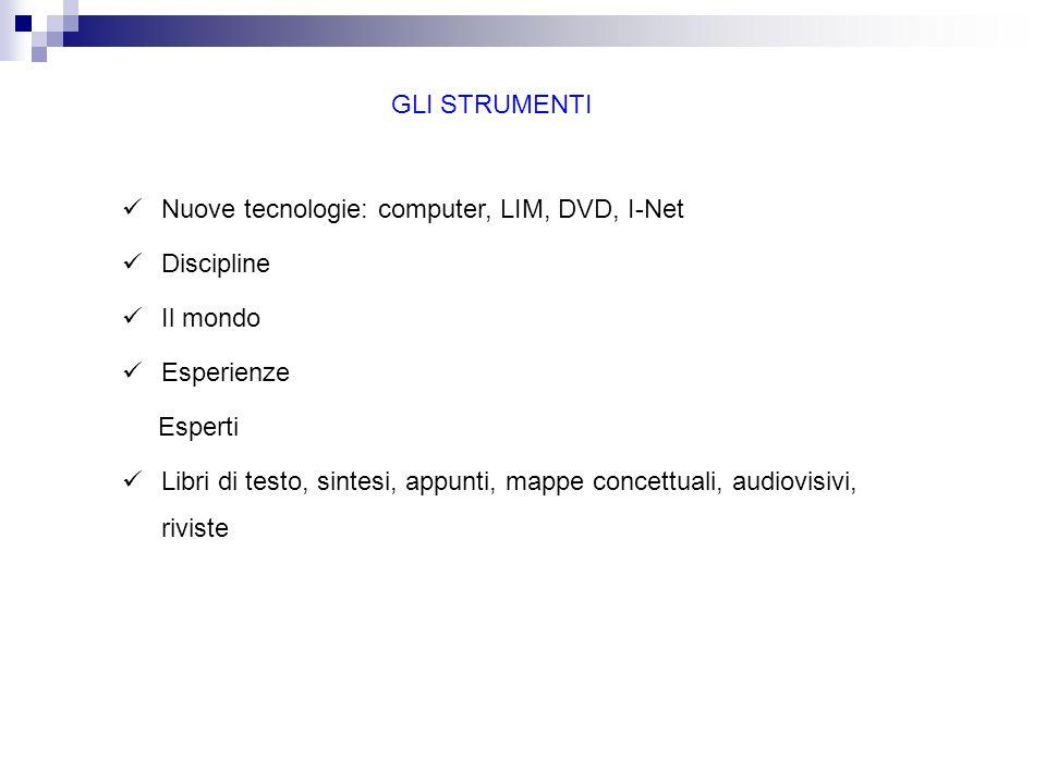 GLI STRUMENTI Nuove tecnologie: computer, LIM, DVD, I-Net. Discipline. Il mondo. Esperienze. Esperti.