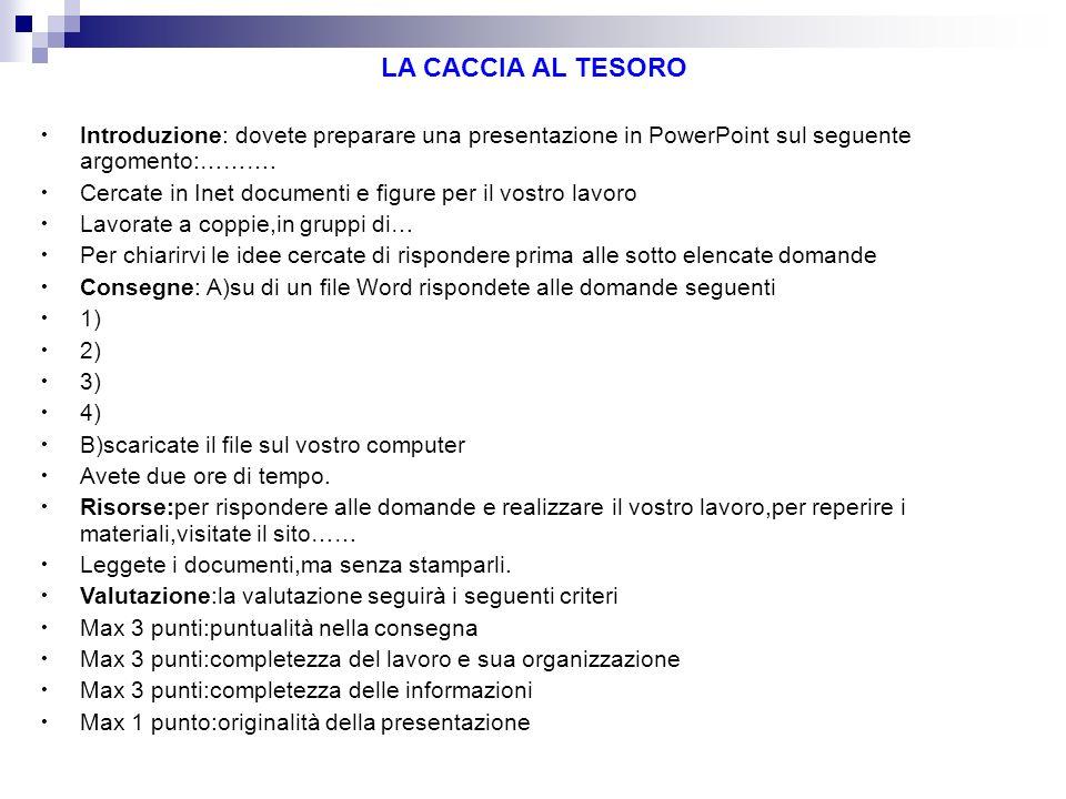LA CACCIA AL TESORO Introduzione: dovete preparare una presentazione in PowerPoint sul seguente argomento:……….