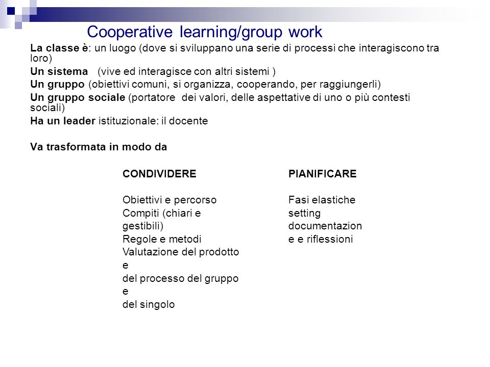 Cooperative learning/group work