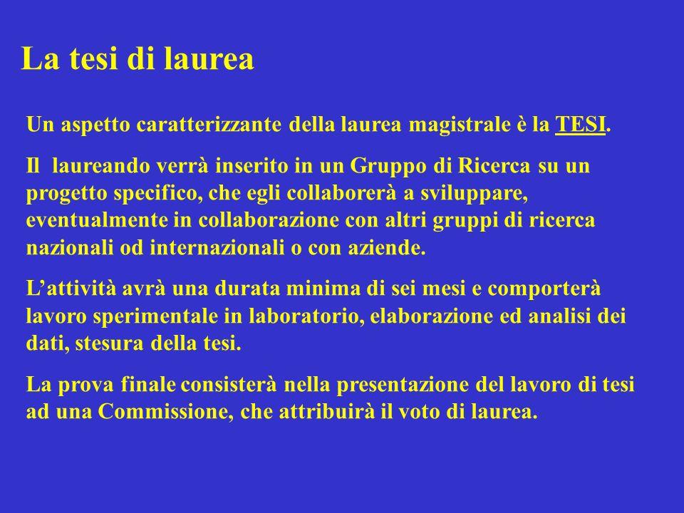 La tesi di laurea Un aspetto caratterizzante della laurea magistrale è la TESI.