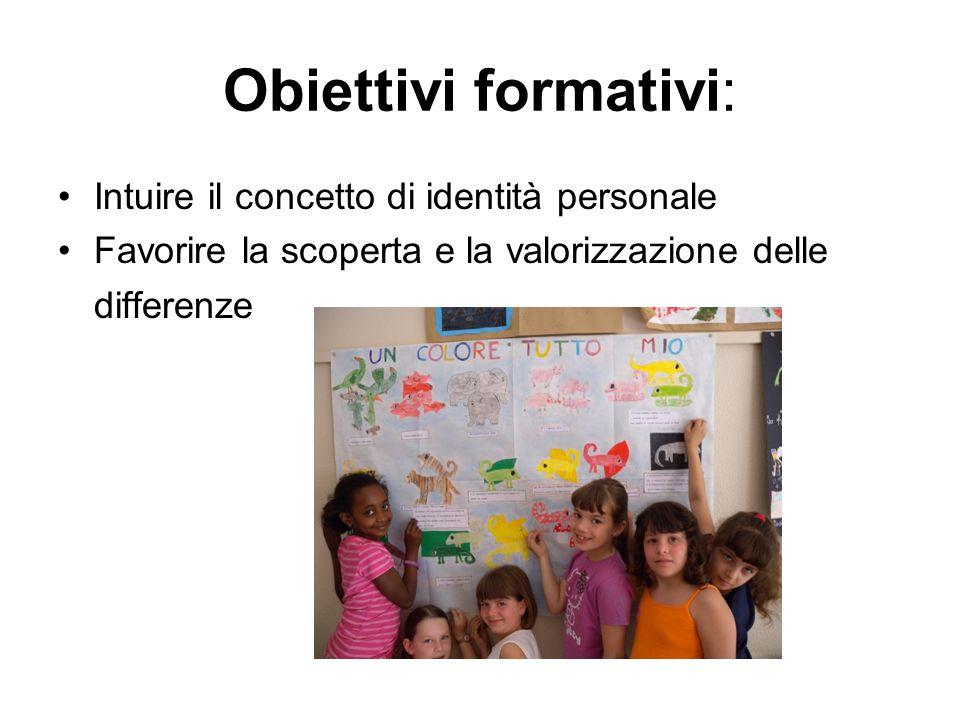 Obiettivi formativi: Intuire il concetto di identità personale