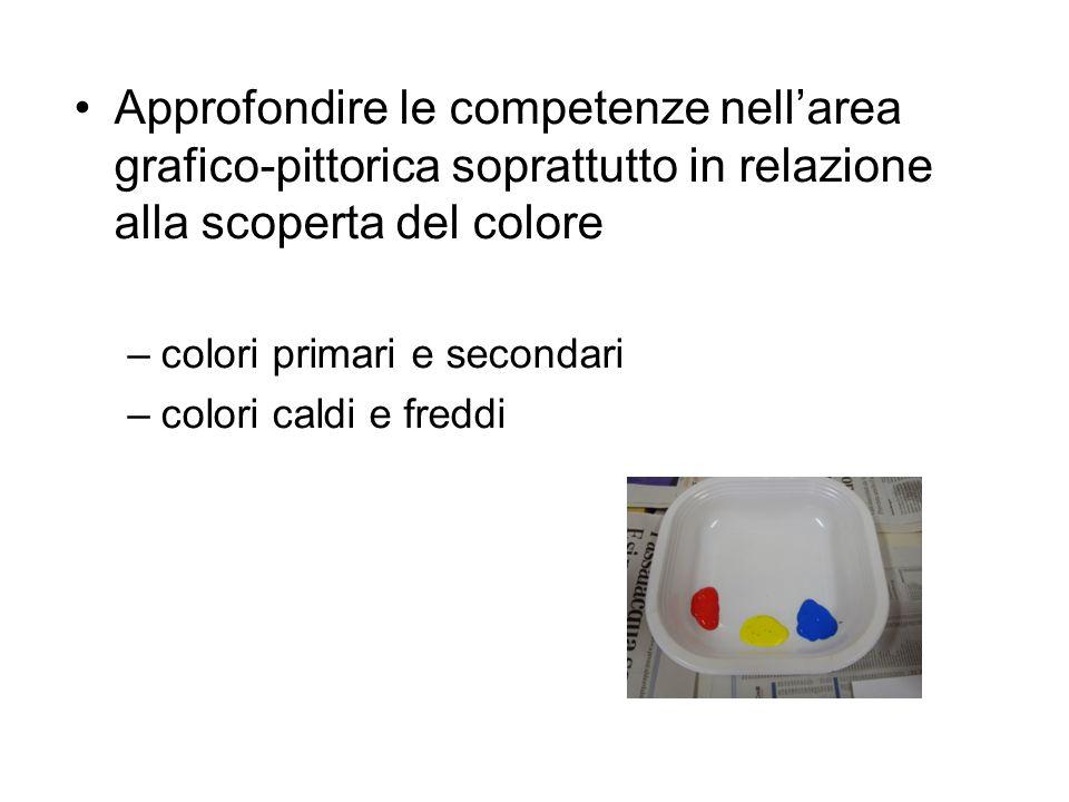 Approfondire le competenze nell'area grafico-pittorica soprattutto in relazione alla scoperta del colore