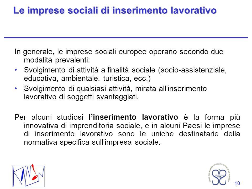 Le imprese sociali di inserimento lavorativo