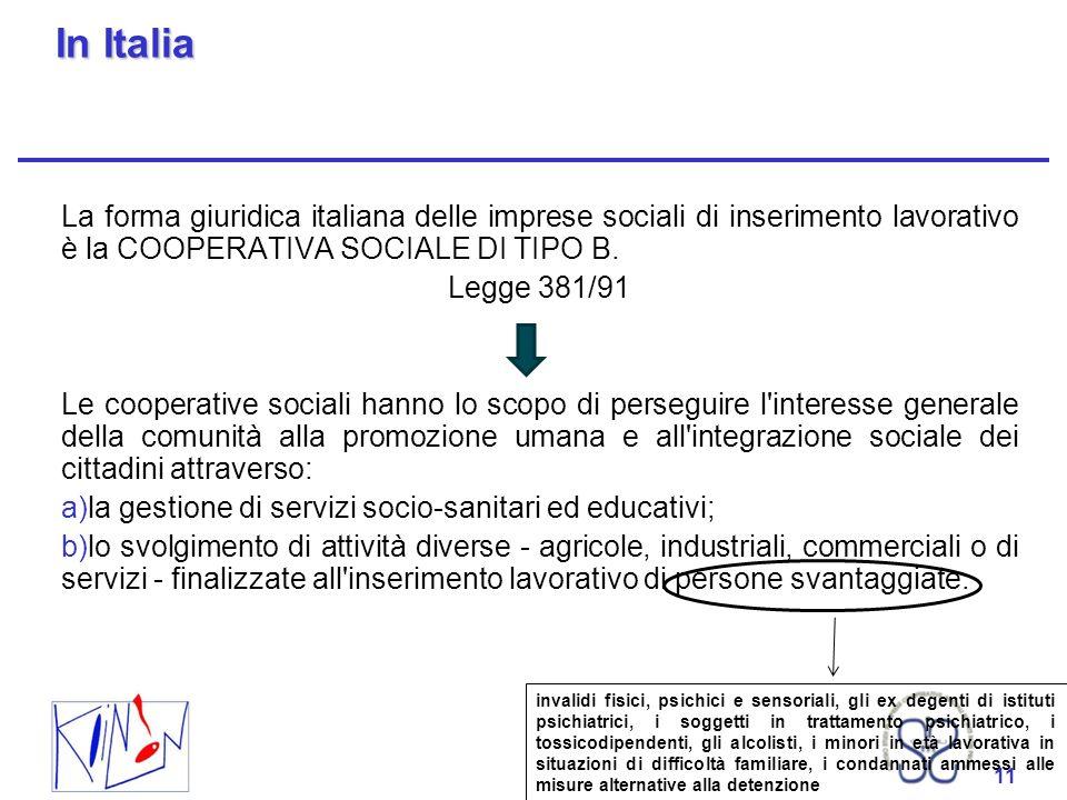 In Italia La forma giuridica italiana delle imprese sociali di inserimento lavorativo è la COOPERATIVA SOCIALE DI TIPO B.