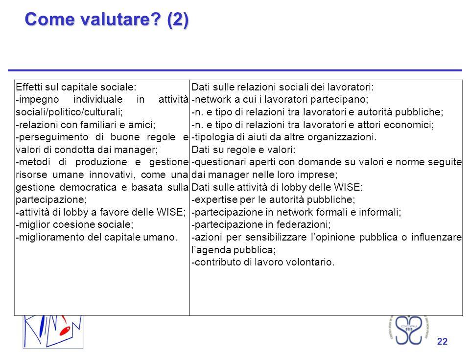Come valutare (2) Effetti sul capitale sociale: