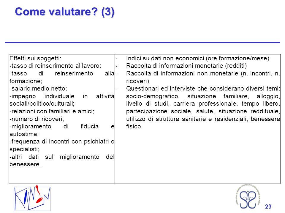 Come valutare (3) Effetti sui soggetti: