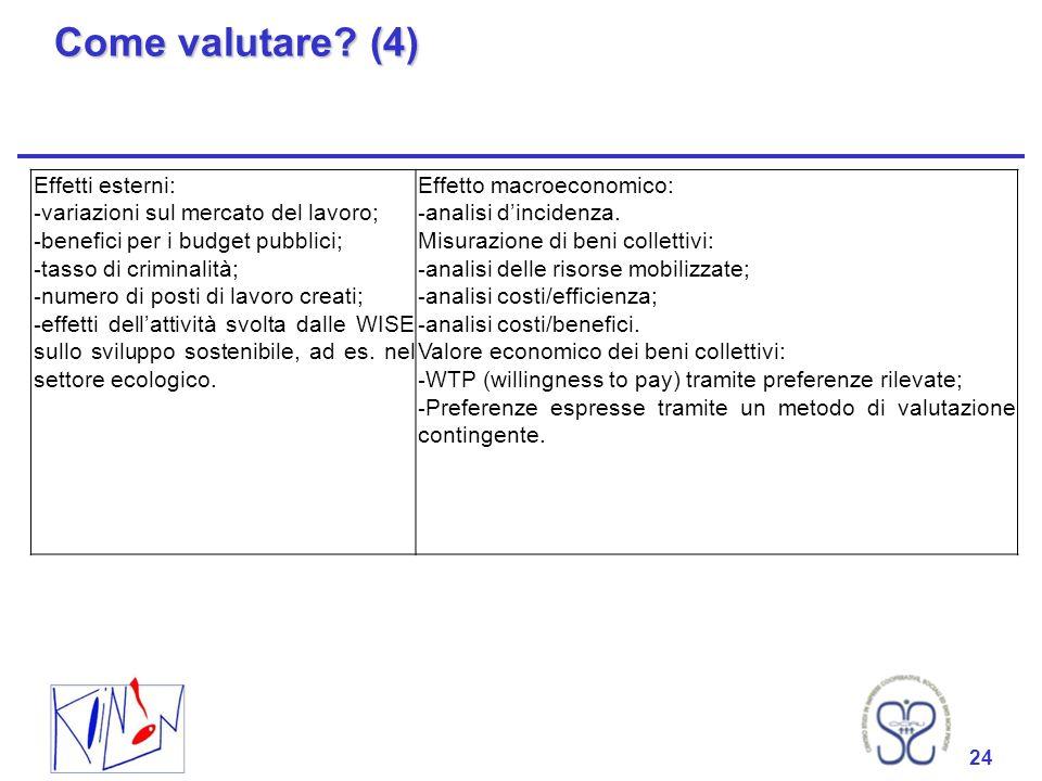 Come valutare (4) Effetti esterni: variazioni sul mercato del lavoro;