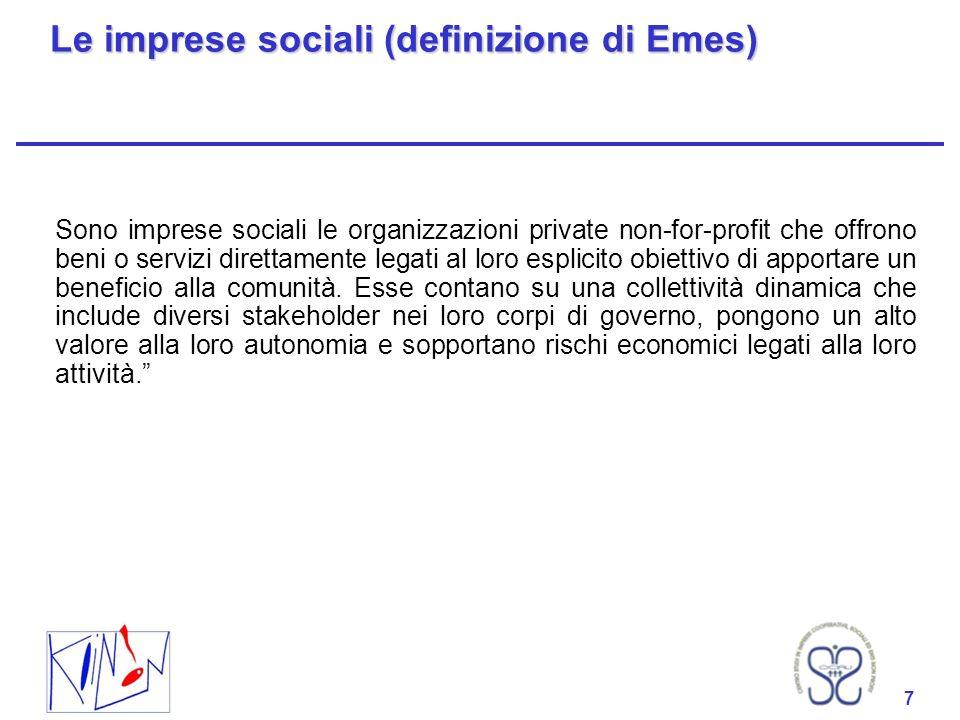 Le imprese sociali (definizione di Emes)