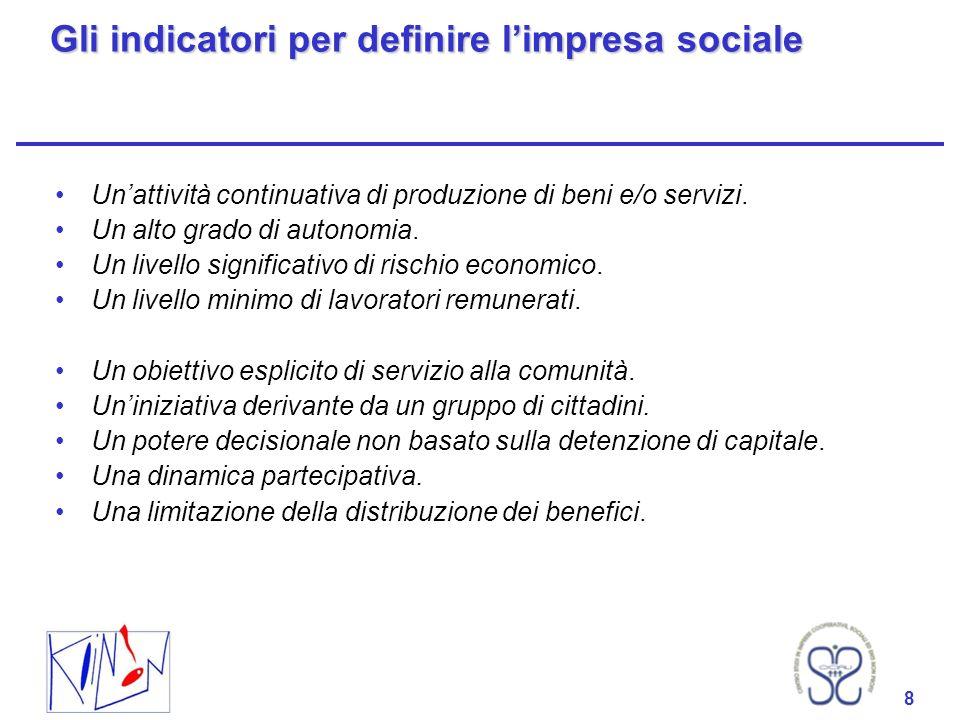 Gli indicatori per definire l'impresa sociale