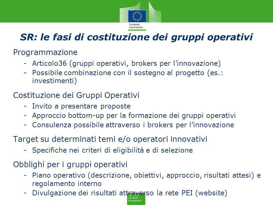 SR: le fasi di costituzione dei gruppi operativi