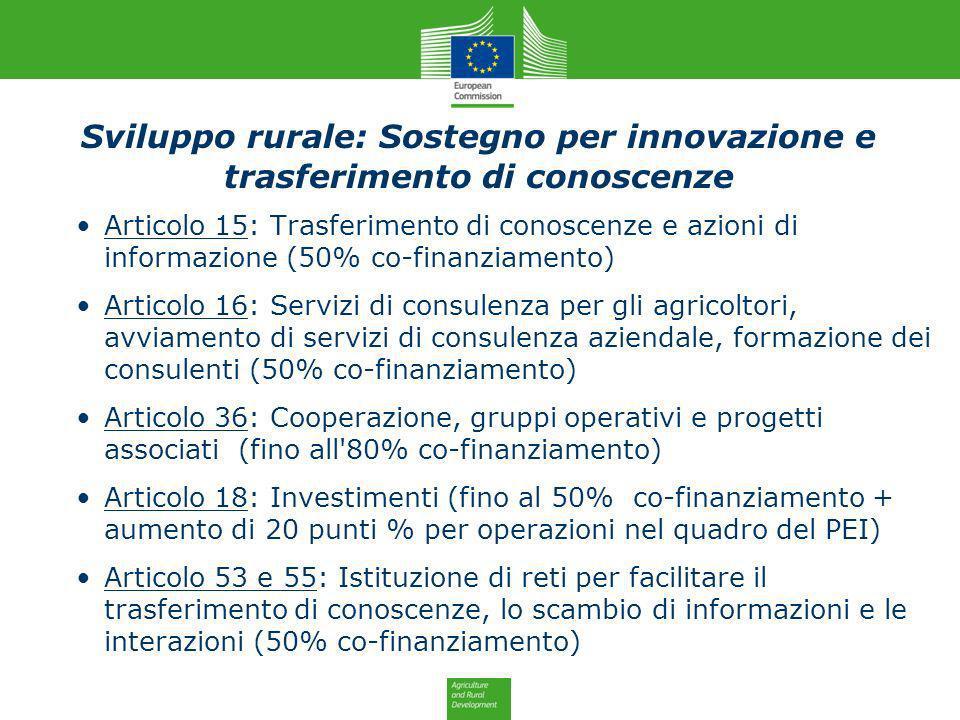 Sviluppo rurale: Sostegno per innovazione e