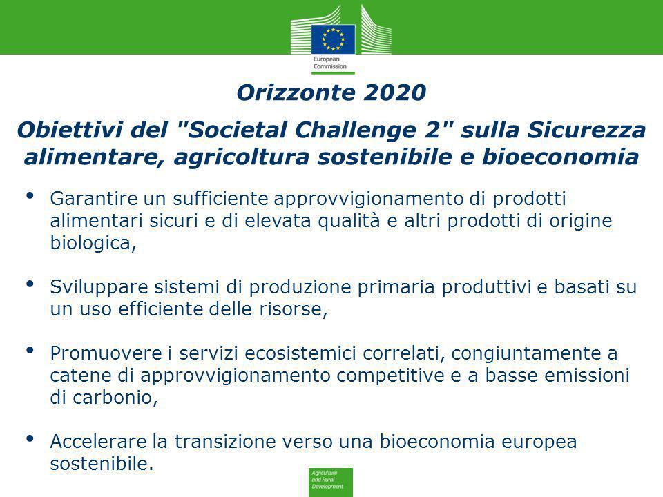 Orizzonte 2020 Obiettivi del Societal Challenge 2 sulla Sicurezza alimentare, agricoltura sostenibile e bioeconomia.