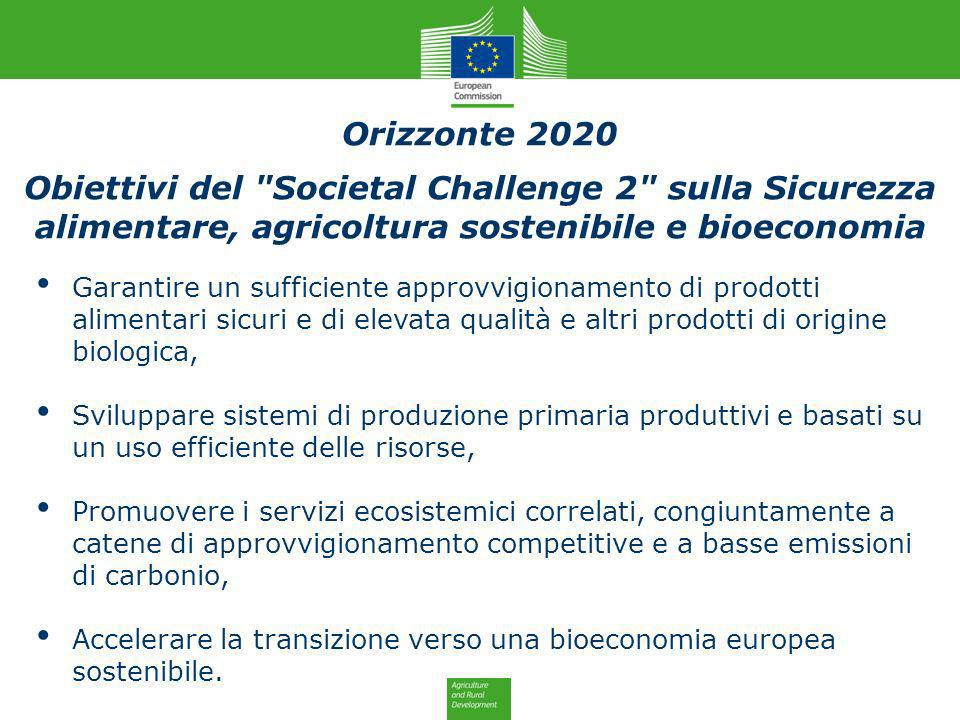 Orizzonte 2020Obiettivi del Societal Challenge 2 sulla Sicurezza alimentare, agricoltura sostenibile e bioeconomia.