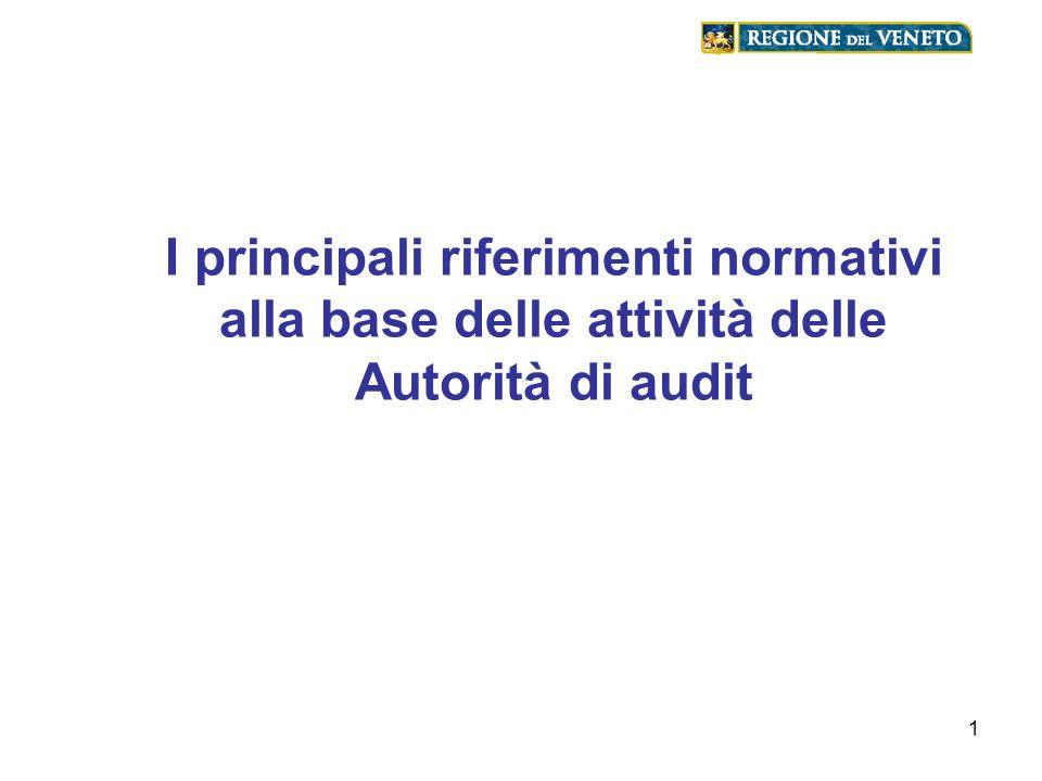 I principali riferimenti normativi alla base delle attività delle Autorità di audit