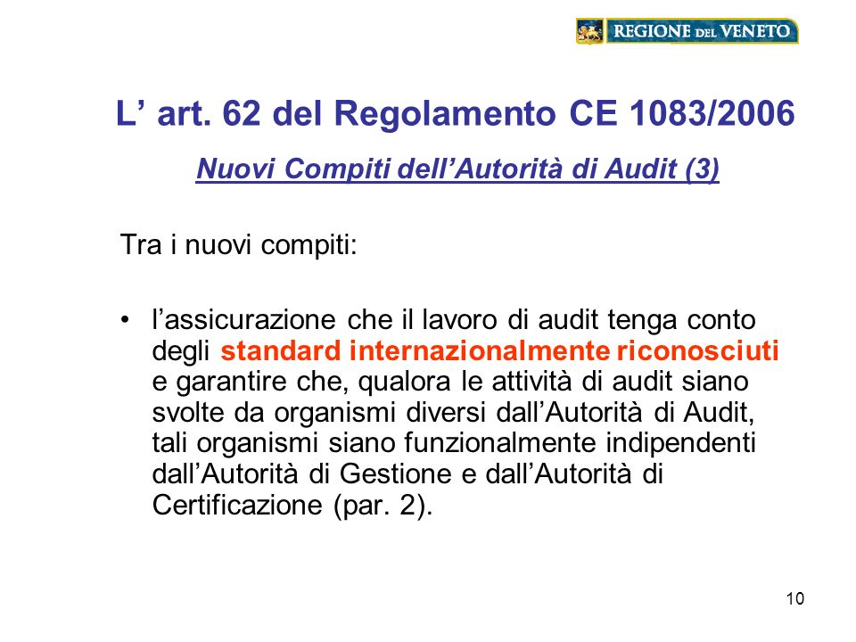 L' art. 62 del Regolamento CE 1083/2006