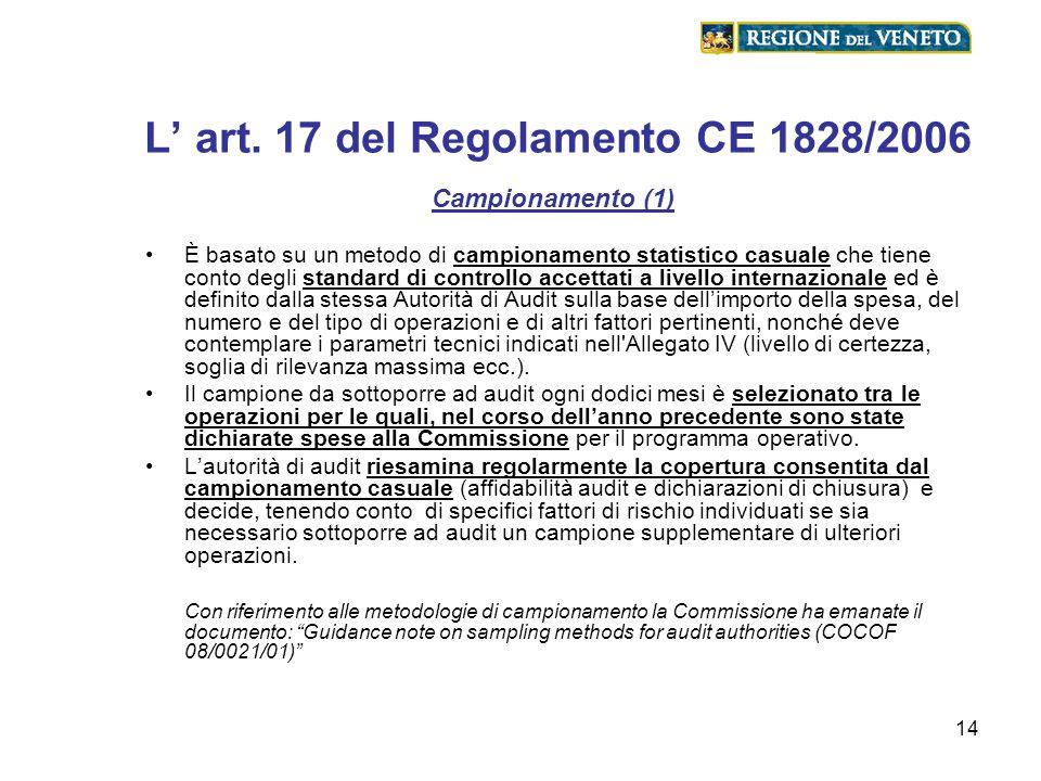 L' art. 17 del Regolamento CE 1828/2006