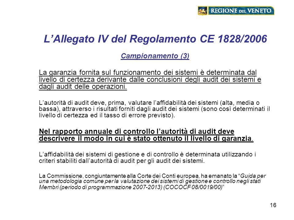 L'Allegato IV del Regolamento CE 1828/2006