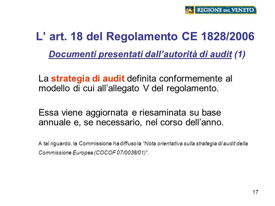L' art. 18 del Regolamento CE 1828/2006
