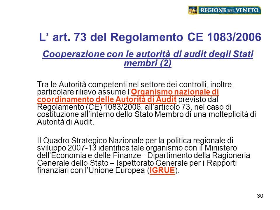 L' art. 73 del Regolamento CE 1083/2006