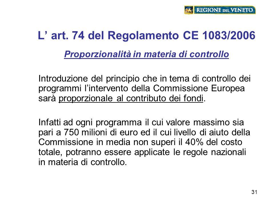 L' art. 74 del Regolamento CE 1083/2006